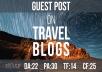Blog posts on Travel blogs (Average DA: 22, PA: 30, TF: 14, CF: 25)