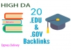 Create 20 EDU/GOV Profile backlinks with High DA