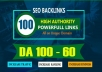 Build 100 Unique Domain SEO Backlinks On High DA Sites