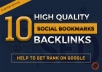 Manually Do 10 Social Bookmarking SEO Backlinks Get Rank