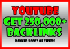 Build 250,000 backlinks to your YouTube video for SEO ranking