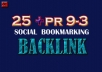 Manually TOP 20+ PR10 to PR5 Safe High Alexa Rank Dofollow Bookmark improve your SERP result