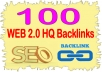 Create 100  High PR Web 2.00 Highest Quality & Most Effective Backlinks