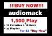 audiomack 1,500 play + 10 favorites + 10 reup + 40 playlist