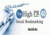 Get Top 40 Social Bookmarking Backlinks PR9, PR8, PR7 - With report