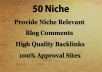 Do 50 Niche Relevant Blog Comments Backlinks