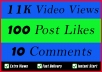 World Wide 11K Video Views Promotion Or 100 Likes Or 10 Comments for Social media Marketing