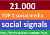 21,000 Social Signals From Top 1 Social Media Websites Increase Your SEO Ranking