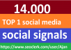 14,000 Social Signals From Top 1 Social Media Websites Increase Your SEO Ranking