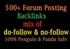 Get 500+ Forum Posting Backlinks For Search Ranking