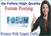 Provide 100 Do Follow  High Quality Forum Posting