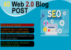 Create 40 Web 2.0 Blog High PR9, PR7 Domain with Login, Unique Content, Image For SEO