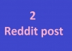 2 Reddit post your link on 2 different subreddit