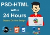 Convert your PSD file into HTML using bootstrap 4x within 24 hours