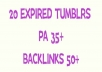 Get 10 strong expired Tumblr with PA 35plus and 50plus backlinks