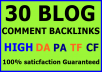 30 unique domain niche related blog comments backlinks high DA PA