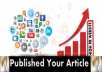 Promote Your Newly Published Article On 50+ High PR Websites