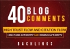 Make 40 dofollow blog comments backlinks