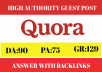 5 niche based guest post answers on Quora with backlinks