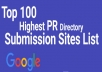 Provide You 100+ High PR Directory Submission Sites List For Your Website