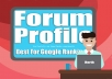 Create 5k Forum Profile Backlinks For website Seo with Google top page with horth seo