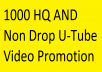 Instant start HQ AND NON Drop YouTubes Video Promotion