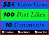 World Wide 55K Video Views Promotion Or 100 Likes Or 10 Comments for Social media Marketing