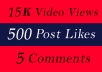 World Wide 15K Video Views Promotion Or 500 Likes Or 5 Comments for Social media Marketing