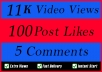 World Wide 11000 Video Views Promotion Or 100 Likes Or 5 Comments for Social media Marketing