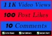 World Wide 11000 Video Views Promotion Or 100 Likes Or 10 Comments for Social media Marketing