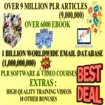 I Will Give You 9 Million Plr/mrr Articles 6000 Ebooks,  1 Billion Email Database for 1