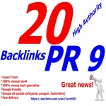 I will do 20 PR 9 backlinks Panda,  Penguin and Hummingbird safe from PR 9 Authority Sites