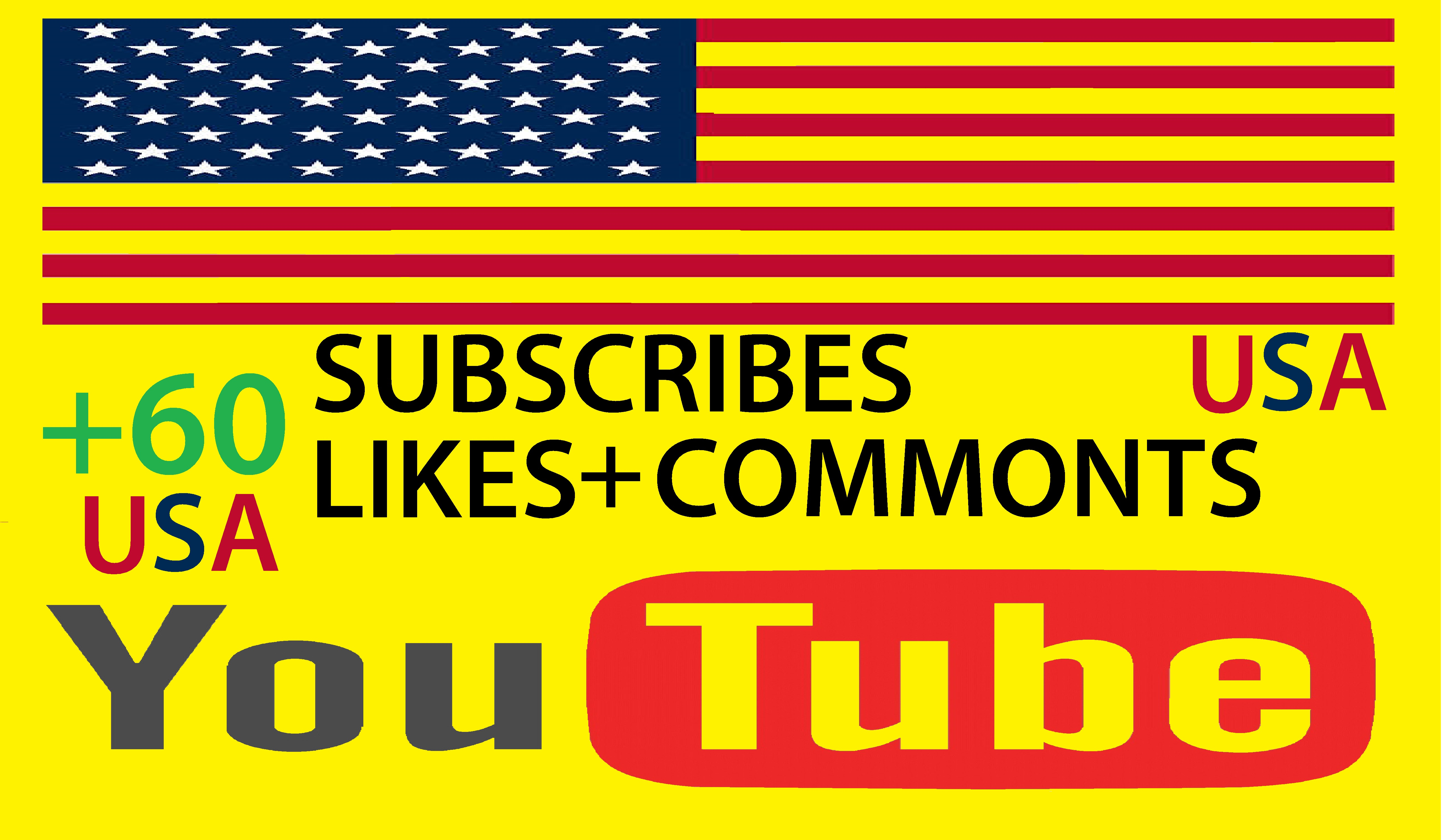 Real +60 YouTube Subscribers and +60 likes video for $3