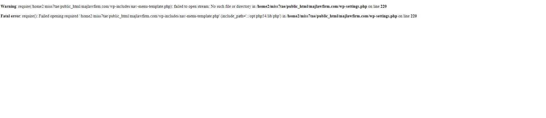 """Remove """"fatal error"""" from 3 Wordpress websites"""