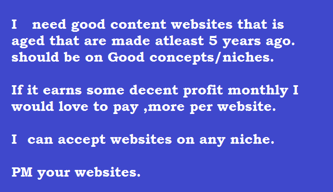 Aged content websites 2+ years